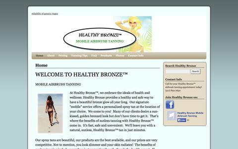 Screenshot of Home Page healthybronze.com - Healthy Bronze | Mobile Airbrush Tanning - captured Sept. 29, 2014