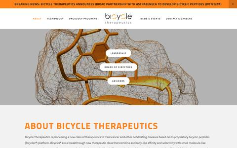 Screenshot of About Page bicycletherapeutics.com - About — Bicycle Therapeutics - captured Dec. 6, 2016