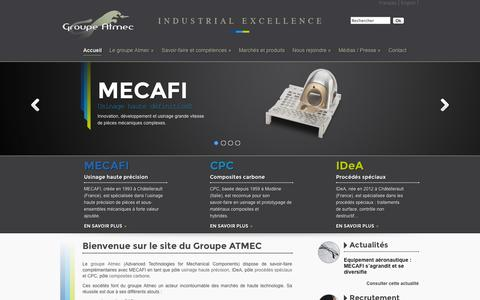 Screenshot of Home Page mecafi.eu - Groupe Atmec | Industrial excellence - captured Oct. 3, 2014