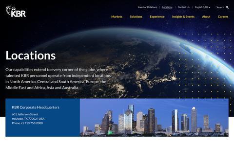 Screenshot of Locations Page kbr.com - Locations | KBR - captured Sept. 29, 2019