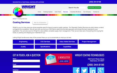 Screenshot of Services Page wrightcoating.com - Custom Coating Services - Custom Powder Coatings | Wright Coating Technologies - captured Oct. 22, 2017