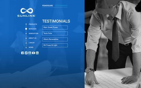 Screenshot of Testimonials Page sunlink.com - Testimonials - Sunlink - captured Feb. 16, 2016