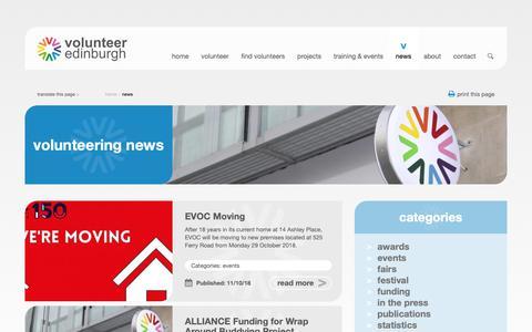Screenshot of Press Page volunteeredinburgh.org.uk - news - Volunteer Edinburgh - captured Oct. 20, 2018