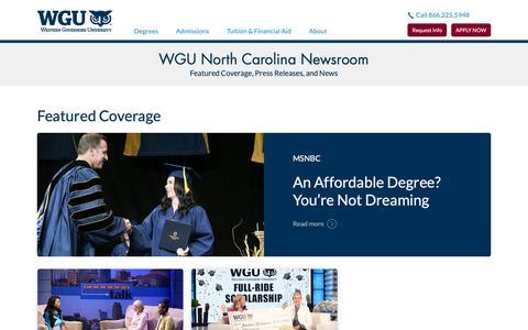 Screenshot of Press Page wgu.edu - Newsroom | WGU North Carolina - captured May 27, 2019
