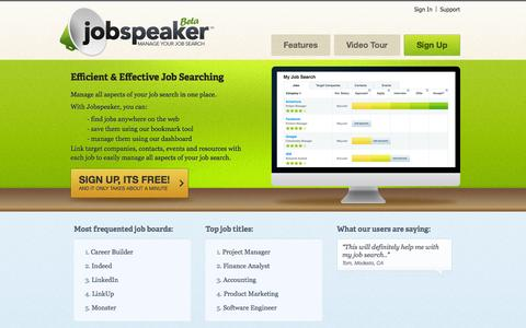 Screenshot of Home Page jobspeaker.com - Jobspeaker - Tools to help you manage all aspects of your job search - captured Sept. 30, 2014