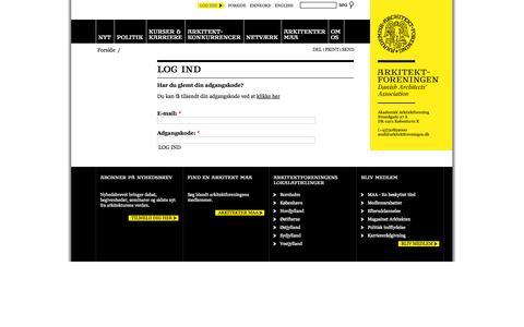Screenshot of Login Page arkitektforeningen.dk - Log ind | Arkitektforeningen - captured Oct. 4, 2014