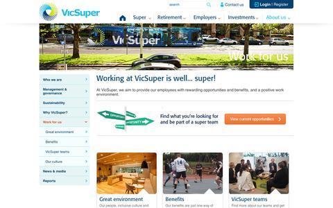 Screenshot of Jobs Page vicsuper.com.au - Work for us- VicSuper - VicSuper - captured Oct. 29, 2014