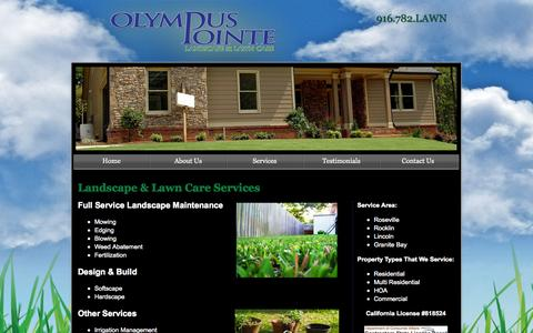 Screenshot of Services Page olympuspointe.com - Olympus Pointe Landscape & Lawn Care - Services - captured Oct. 6, 2014