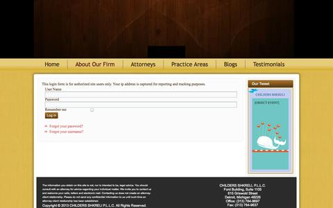 Screenshot of Login Page childersshkreli.com - Log In - captured Oct. 1, 2014