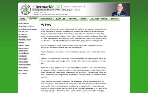 Screenshot of Services Page fibermarkmtc.com - About Fibermark carpet cleaning specialists in los angeles california - captured Oct. 5, 2014