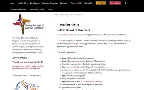 Screenshot of Team Page nacc.org - Leadership | The National Association of Catholic Chaplains - captured Feb. 13, 2016