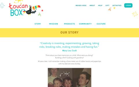 Screenshot of About Page toucanbox.com - The Story behind toucanBox | toucanBox - captured April 17, 2018
