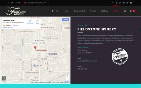 Screenshot of Contact Page fieldstonewine.com - Contact - Fieldstone Winery - captured Feb. 10, 2016