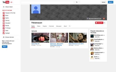 Screenshot of YouTube Page youtube.com - TVeletrosom  - YouTube - captured Oct. 22, 2014