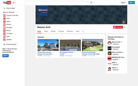 Screenshot of YouTube Page youtube.com - Neenan Arch  - YouTube - captured Oct. 26, 2014