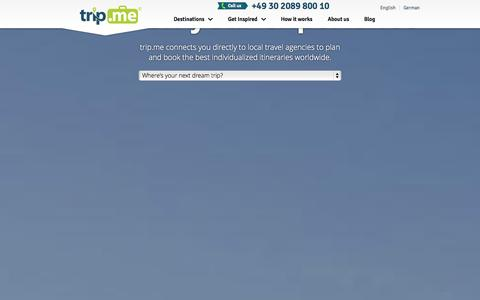 Screenshot of Home Page trip.me - Personalized trips from local travel agencies | trip.me - captured Sept. 29, 2014