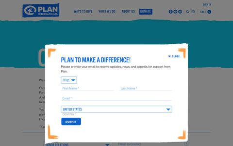 Screenshot of Contact Page planusa.org - Contact Us | Plan International USA - captured July 19, 2019
