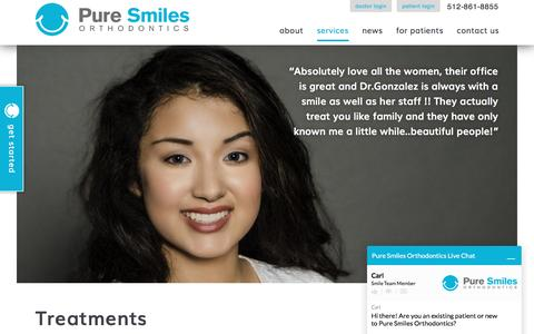 Screenshot of Services Page puresmilesortho.com - Orthodontic Services | Orthodontist | Austin TX Orthodontists - captured Nov. 15, 2016