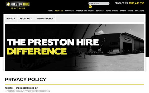 Screenshot of Privacy Page prestonhire.com.au - The Difference - captured July 21, 2018