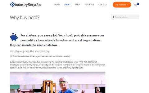 Screenshot of About Page industryrecycles.com - Why buy here? | Industryrecycles.com saves the planet one item at a time - captured Oct. 16, 2017