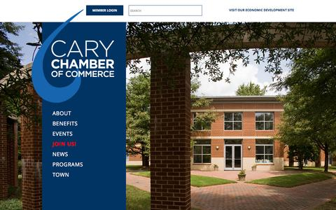 Screenshot of Home Page About Page carychamber.com - Welcome to Cary! | Cary Chamber of Commerce | Cary, NC - captured Oct. 2, 2014