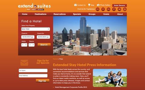 Screenshot of Press Page extendasuites.com - Hotel Accommodations & Press Information - captured Oct. 3, 2014