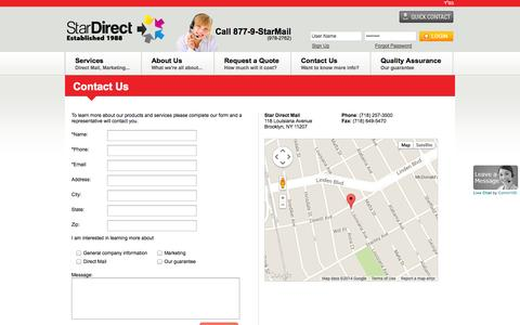 Screenshot of Contact Page stardirectmail.com - Star Direct Mail | Contact Us | 877-978-2762 | Brooklyn, NY - captured Sept. 30, 2014
