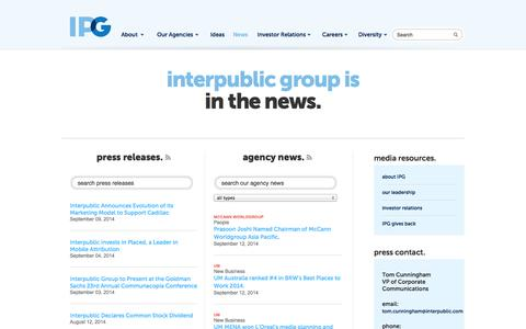 Screenshot of Press Page interpublic.com - News | IPG - captured Sept. 18, 2014