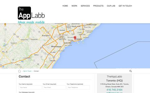 Screenshot of Contact Page theapplabb.com - App Development Company in Toronto, Toronto Mobile Apps Company, Application Development Toronto Canada - captured Sept. 25, 2014