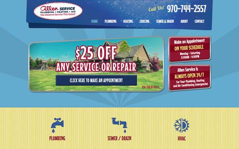 Screenshot of Home Page allenservice.com - Heating Repair & Plumbing Fort Collins Colorado | Best Furnace Repair & Plumbers in Fort Collins, CO - captured Feb. 5, 2016