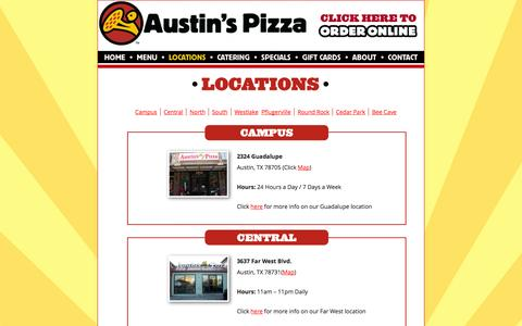 Screenshot of Locations Page austinspizza.com - Austins Pizza — Austin, TX Pizza Delivery, Catering and Pizzeria - captured Sept. 19, 2014