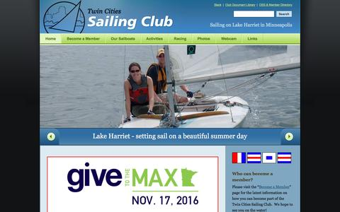 Screenshot of Home Page tcsailing.com - Home - Twin Cities Sailing Club Twin Cities Sailing Club - captured Dec. 1, 2016
