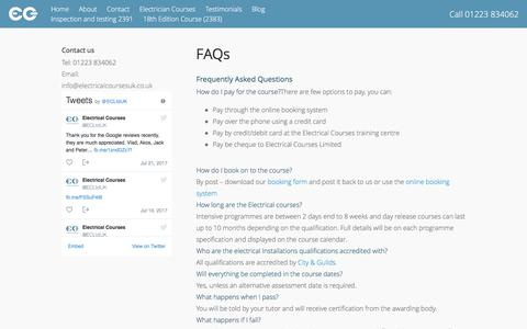 Screenshot of FAQ Page electricalcoursesuk.co.uk - Frequently asked questions about our Electrical Courses. - captured July 23, 2017