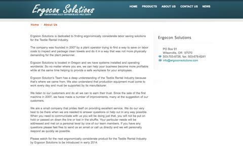 Screenshot of About Page ergoconsolutions.com - About Ergocon Solutions - captured Sept. 30, 2014