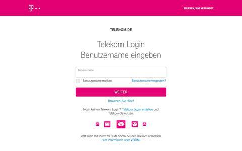 Screenshot of Login Page telekom.com - Telekom Login - captured June 23, 2019