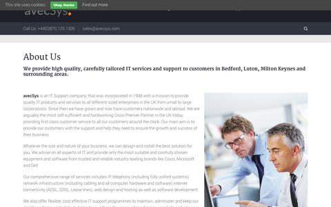 Screenshot of About Page avecsys.com - IT Support Company - Cisco Premier Partner - captured Sept. 30, 2014