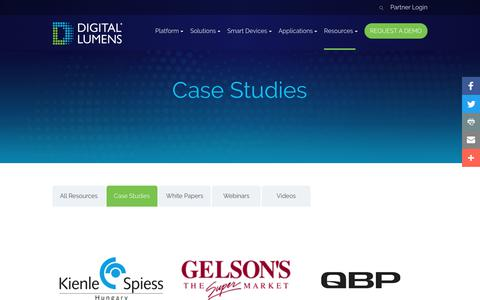 Screenshot of Case Studies Page digitallumens.com - Case Studies Archive - Digital Lumens - captured May 19, 2018