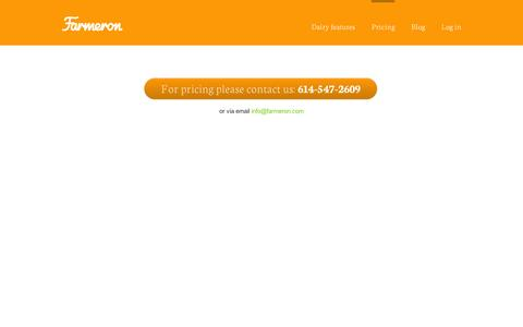 Screenshot of Pricing Page farmeron.com - We are changing the way farming is done today. - captured Sept. 12, 2014