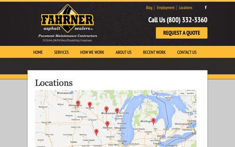 Screenshot of Locations Page fahrnerasphalt.com - Locations | Fahrner Asphalt Sealers LLC - captured Oct. 5, 2014