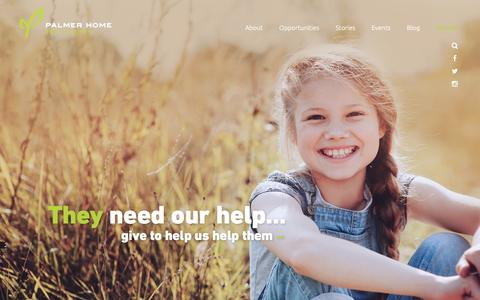 Screenshot of Home Page palmerhome.org - Palmer Home for Children | Where Hope Still Grows - captured Oct. 19, 2016