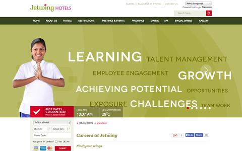 Screenshot of Jobs Page jetwinghotels.com - Careers at Jetwing Hotels | Vacancies - captured Sept. 22, 2014