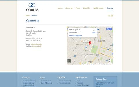 Screenshot of Contact Page cobepa.be - Contact us | Cobepa - captured Sept. 30, 2014