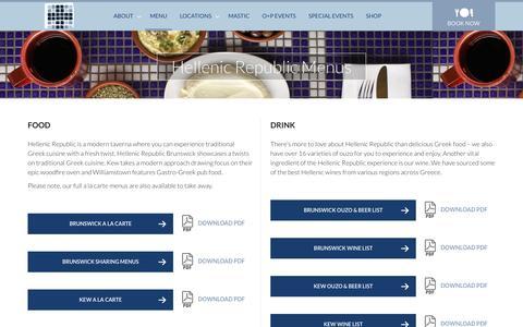 Screenshot of Menu Page hellenicrepublic.com.au - Hellenic Republic Menus - Hellenic Republic - captured July 13, 2016