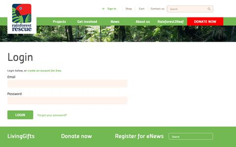 Screenshot of Login Page rainforestrescue.org.au - Rainforest Rescue - Login - captured Nov. 17, 2018