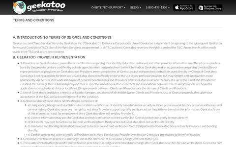 Screenshot of Terms Page geekatoo.com - Geekatoo - captured July 19, 2014