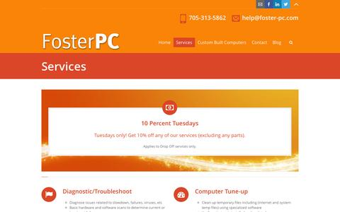Screenshot of Services Page foster-pc.com - PC Repair and Computer Tuneups | Peterborough, Lindsay, Omemee - captured Sept. 30, 2014