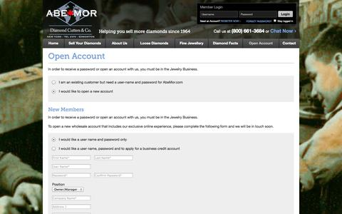 Screenshot of Signup Page abemor.ca - Abe Mor Diamonds Est. 1964   Buy & Sell Diamonds in NYC - captured Oct. 5, 2014