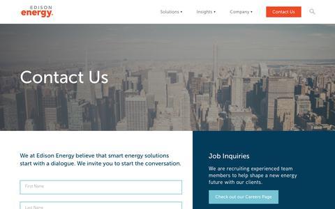 Screenshot of Contact Page edisonenergy.com - Contact Us | Edison Energy - captured July 6, 2018