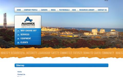 Screenshot of Site Map Page alliancecontracting.com.au - Sitemap - captured Oct. 4, 2014
