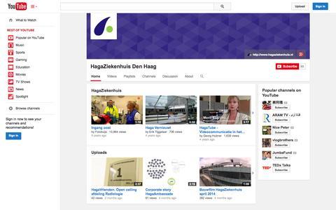 Screenshot of YouTube Page youtube.com - HagaZiekenhuis Den Haag  - YouTube - captured Oct. 22, 2014